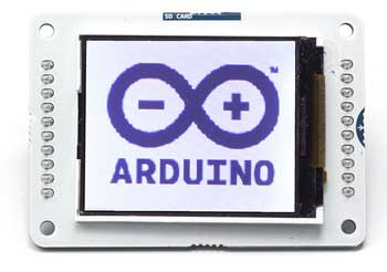 the arduino tft screen is a backlit tft lcd screen with a micro sd card  slot in the back  you can draw text, images, and shapes to the screen with  the tft