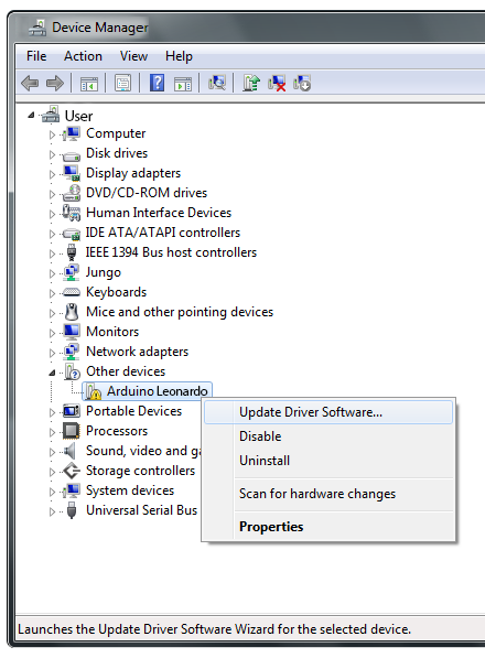 Updating usb port drivers