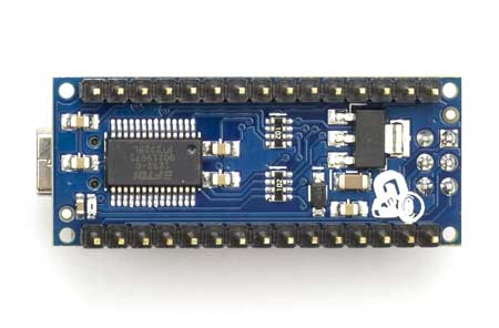 Picture of the Arduino with exposed circuitry
