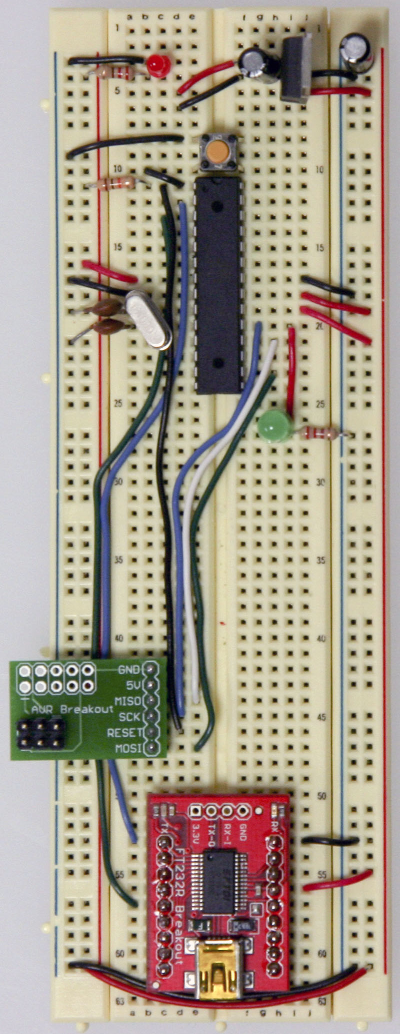 Arduino Setting Up An On A Breadboard Capacitors And Resistors Circuitbreadboard Wires Batteries Avrwires