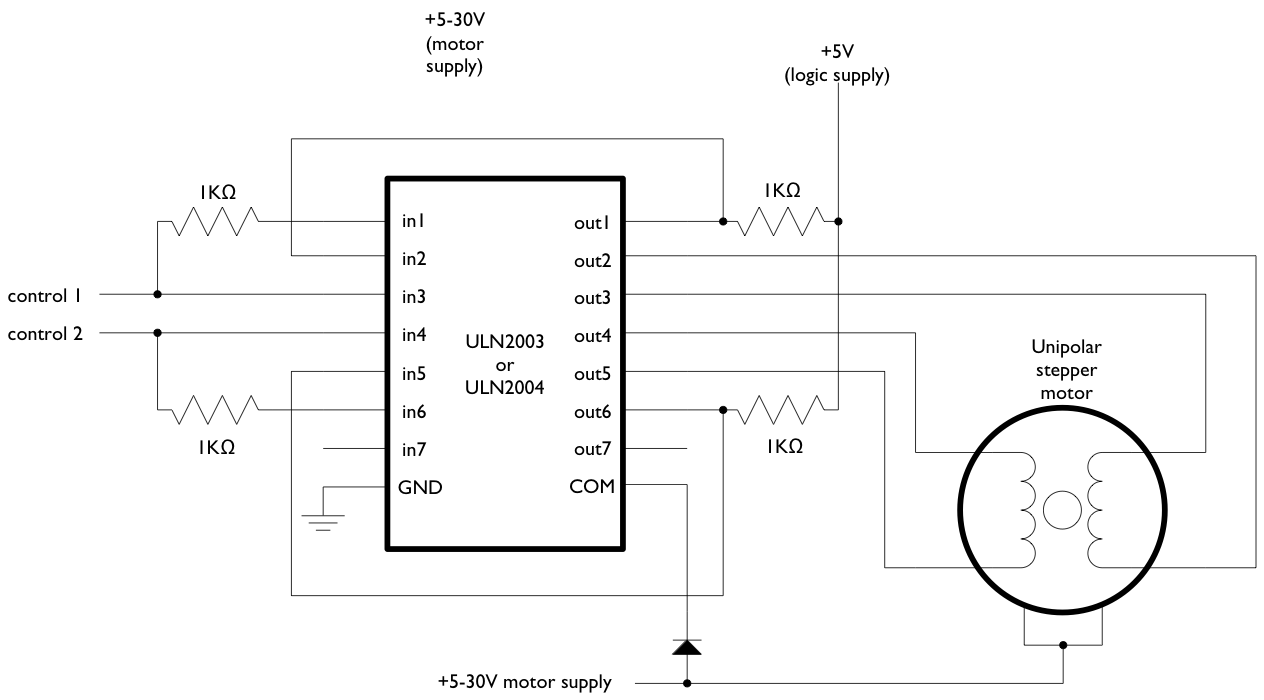 arduino stepperunipolarcircuit rh arduino cc Wireless Stepper Motor Control  Unipolar Stepper Motor Controller Schematic