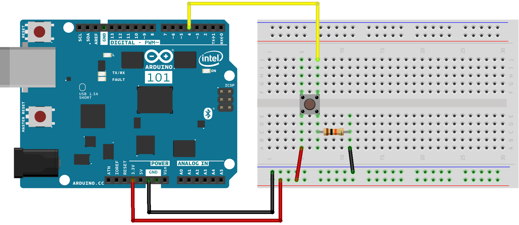 inpu arduino button led circuit