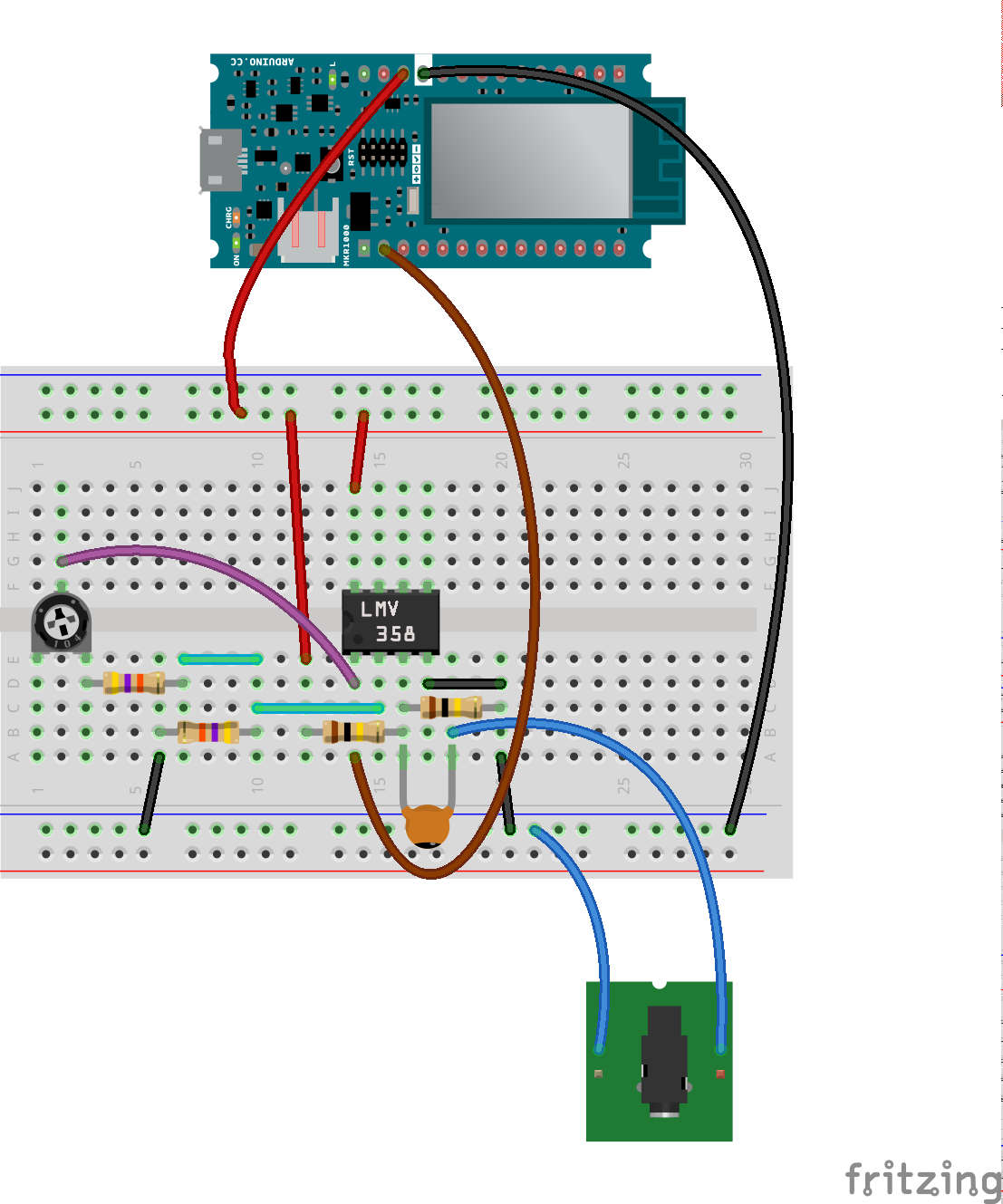 Arduino Analogtomidi Audio Tone Generator Circuit In Order To Get The Most Dynamic Range Even From Low Level Inputs Consist Of A Non Inverting Amplifier That Brings Amplitude Signal