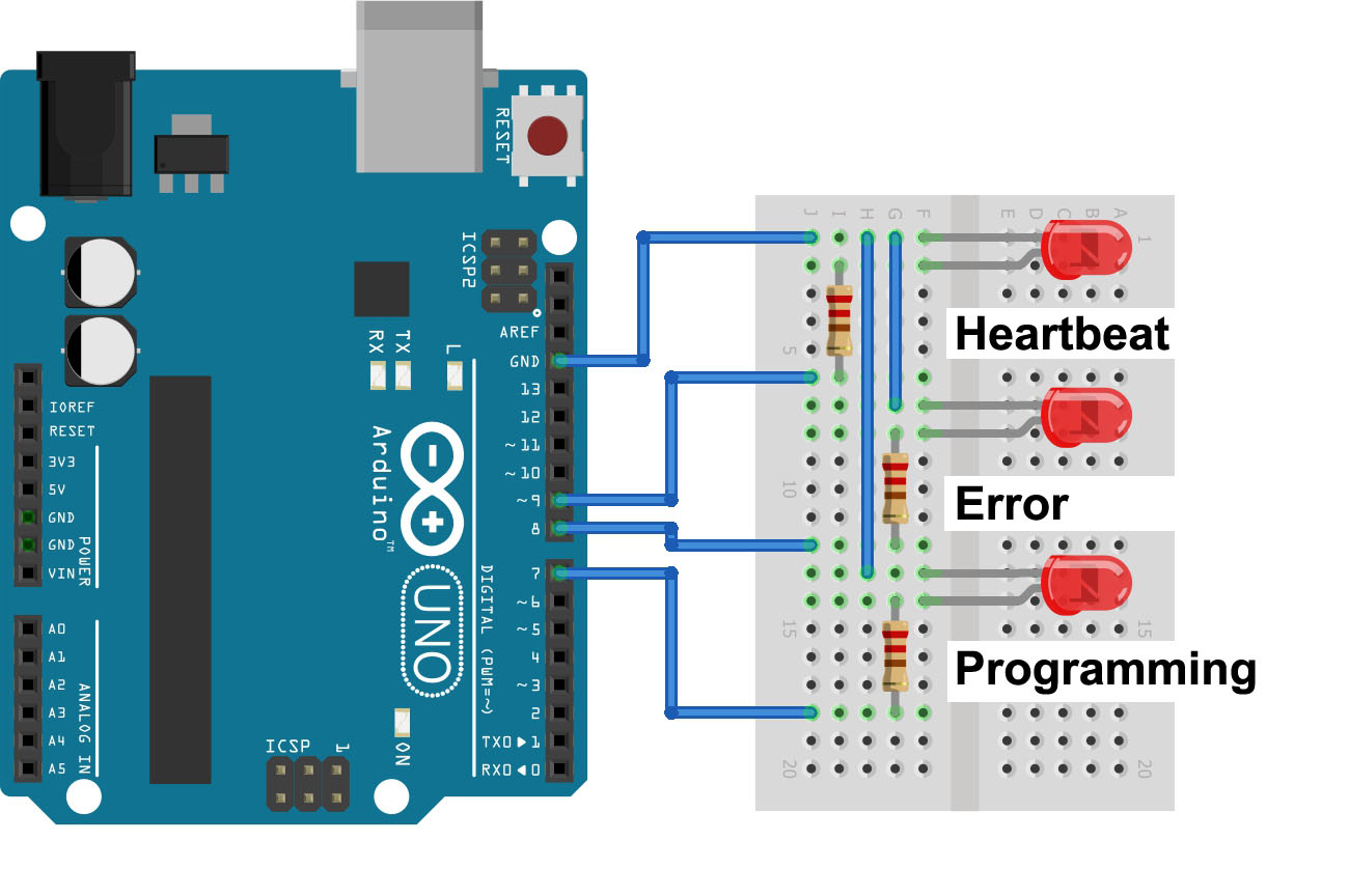 Arduino Arduinoisp Serial Avr And Pic Programmer The Sketch Also Supports Three Leds That Give You A Visual Feedback About Programming Process