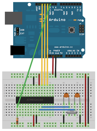 Using an Arduino board to burn the bootloader onto an ATmega on a breadboard