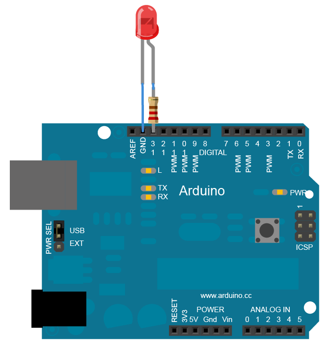 arduino - blink a wiring diagram for traffic lights