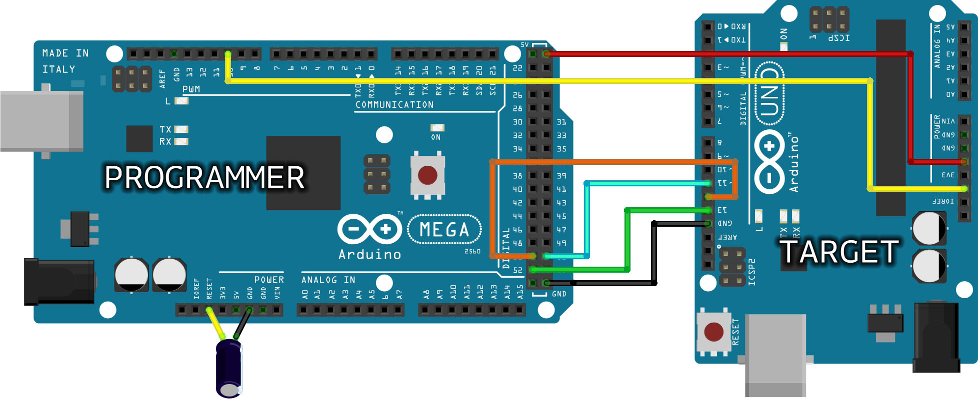 Arduino Arduinoisp Circuit Wiring Definition The Mega Above Is Programming An Uno Connecting D51 D11 D50 D12 D52 D13 Gnd 5v And D10 To Reset This Type Of Board Needs A 10f