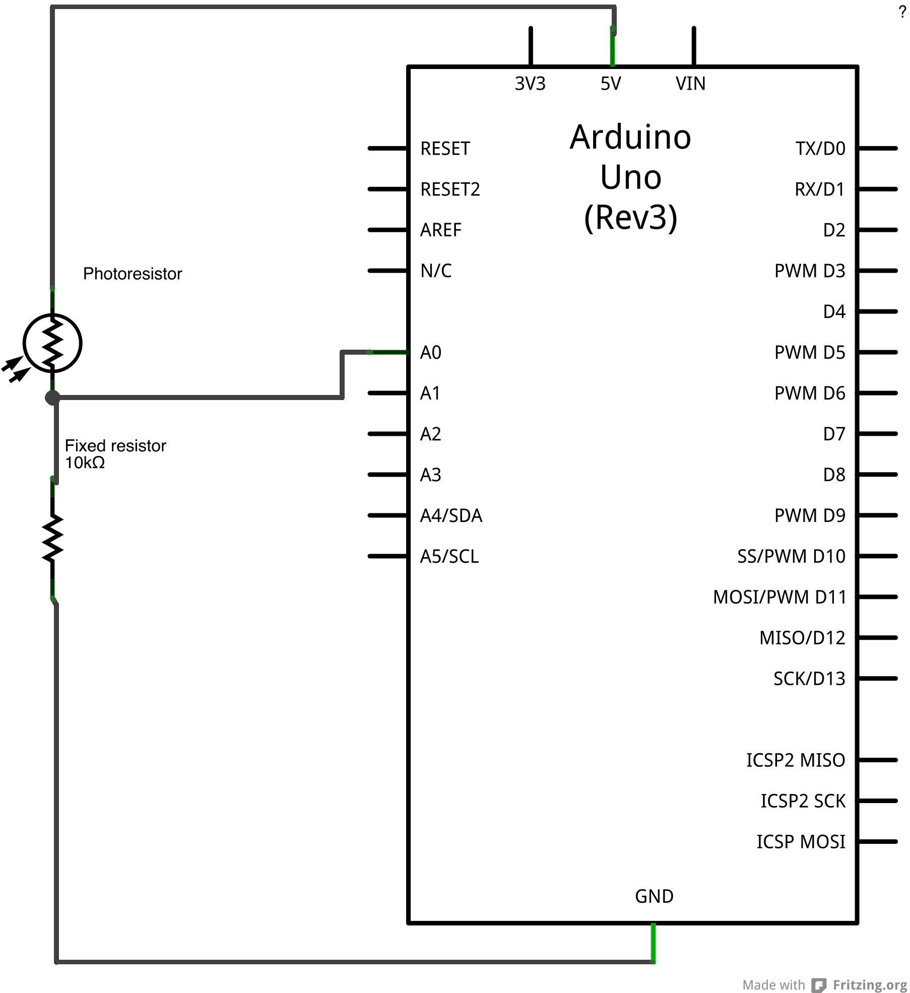 Arduino Analoginput 4 Pin Wiring Diagram For Light Reading Schematic