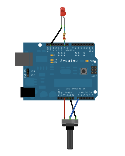 [Arduino and LED wired for analog output]