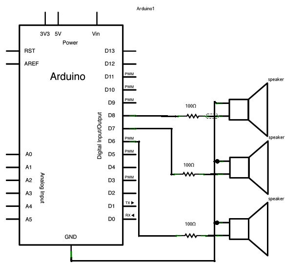 Playing tones on Multiple outputs using the tone() function  Arduino