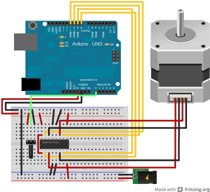 arduino stepperonerevolution bipolar stepper circuit and schematic