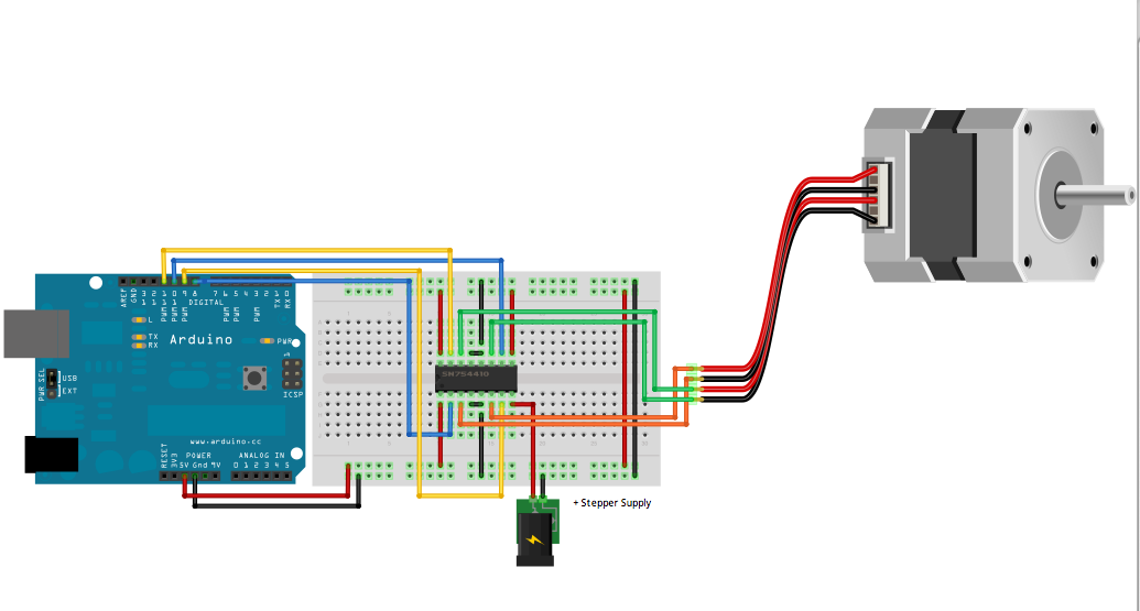 how to connect 2 wire 393 motor with arduino