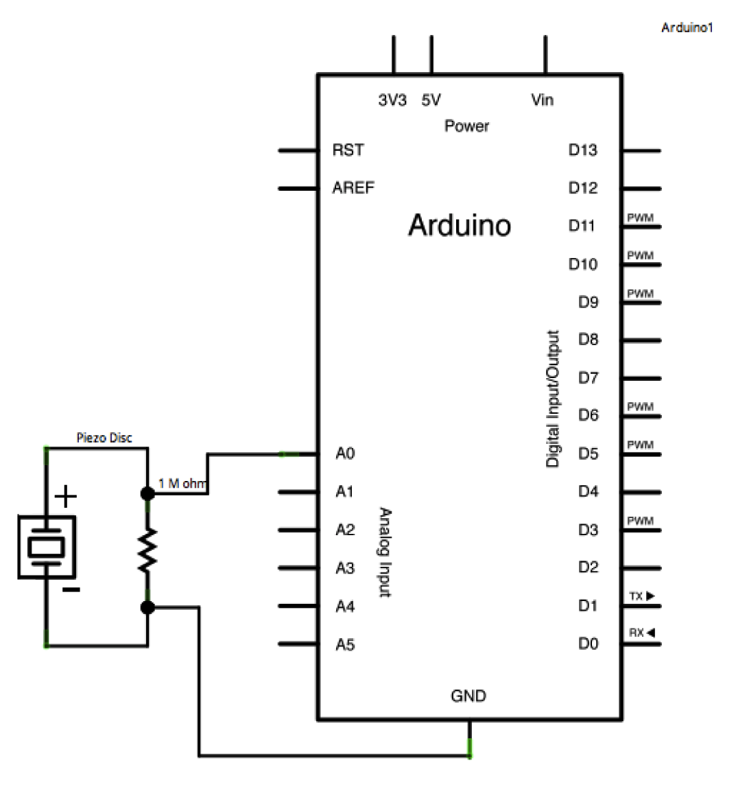 Arduino Knock Rain Sound Effects Generator Circuit Schematic