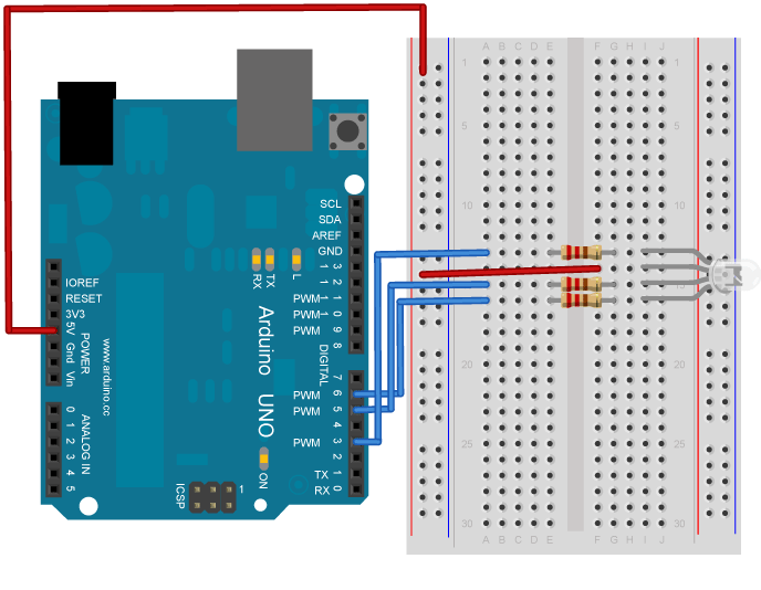 the led is wired like in this diagram:  http://arduino cc/en/uploads/tutorial/readasciistring_bb png